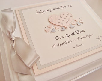 Personalised Handmade Diamanté/Pearl Heart Small Wedding Guest Book