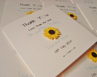 Handmade Personalised Wedding Thank You Cards (Pack of 10) Sunflowers