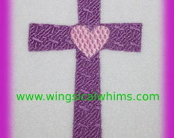 Cross with Heart Digitized Machine Embroidery Design Cross Religious Heart