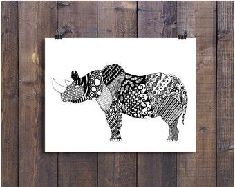 Rhinoceros Drawing, Rhino Art, Rhinoceros Art, Pen and Ink Rhinoceros, Doodle Art, Black and White Art, Pen and Ink Art, Ink Rhinoceros