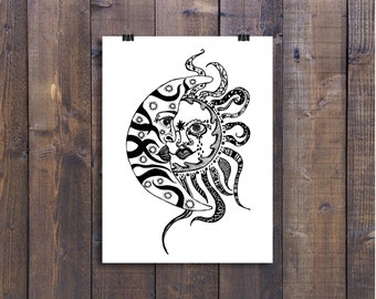 Black and White Art Pen and Ink Sun and Moon Celestial Illustration Signed 5 x 7 Print Home Decor Design Drawing
