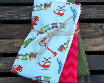 Things with Wheels Cotton Burp Cloths - Set of 3