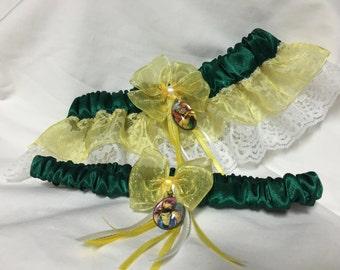 Custom Mutant Love - Green and Yellow prom or wedding Keepsake and Toss garter set