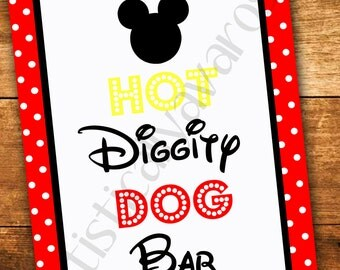 Printable Mickey Mouse Hot Diggity Dog Sign