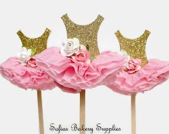 6 pc set Fleur rose cupcake toppers tutu gold Glitter