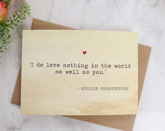 Literature Valentines Card Shakespeare Quote - Love Card - Book Lover - Literary Greetings Card - Valentine's Day - Weddings