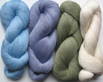 Linen Yarn Salad Green Moss Blue Azure 360 gr (10.3 oz ), Cobweb / 1 ply, each hank contains approximately 2700 yds
