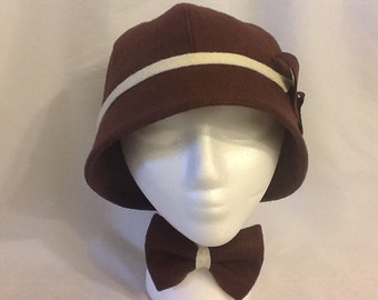 Chocolate Brown Felt Cloche