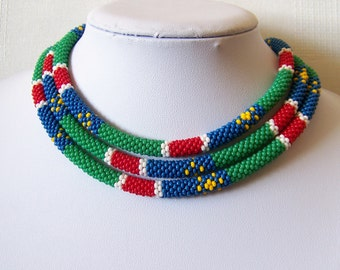 Long Beaded Crochet Rope Necklace - Beadwork necklace - Seed beads jewelry - Colors of Namibia flag - African style necklace