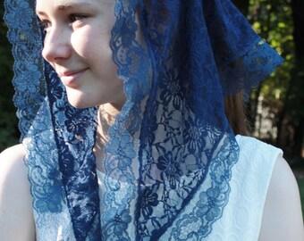 Chapel Veil/ Catholic Headcovering/ Church Veil/ Blue Mantilla / Blue Veil / Trad Cath Veil