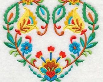 Folk Art Heart Bloom Embroidered Decorative Absorbent White Cotton Flour Sack Towel, Linen Tea Towel, Hand Towel, Guest Towel