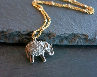 Pave Diamond Elephant necklace pendant, tiny lucky diamond elephant charm, minimalist, genuine diamond,layering necklace,holiday gift