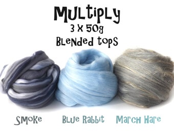 Blended roving - 3 x 50g/1.75oz - Smoke - Blue Rabbit - March Hare - 3ply - MULTIPLY