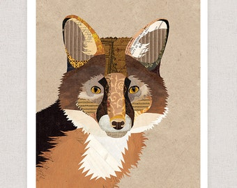 Fox Print - For Art Collage Illustration Print - Framable Wall Art