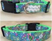 """Handmade Lilly Pulitzer Inspired Sand Dollar  1"""" Adjustable Dog Collar - MEDIUM"""
