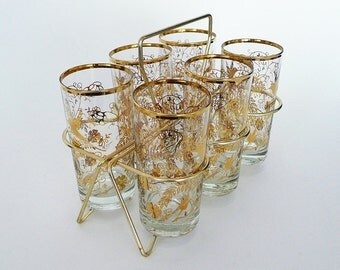 Set of Six Glass Tumblers with Brass Caddy / Gold Rimmed Hummingbird Motif