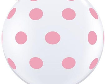 BALL00N PINK P0LKA D0T 0n White 3' Latex Oversized Balloon -Trendy, Wedding, Blush Baby Girl Shower, Photo Prop, Table Decor  Party Supplies