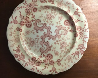English Cottage, Farmhouse Decor, Vintage   Pink Transferware  Plate with Issues, Flosculous, c 1830