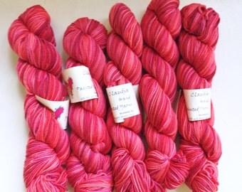 60% Off Claudia Hand Painted Yarn Worsted 55 Silk Merino Wool Lipstick Pink 168 Yards