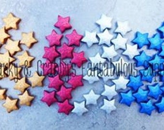 Star  Beads  Large  - 20mm x 20mm -  Stardust Finish - Chunky Necklaces - Set of 10 - Choose from 4 Colors