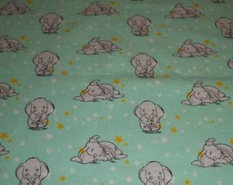 Dumbo, Sweet dreams on light green  cotton -  Toddler size pillowcase