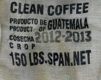 Vintage Heavy Weight Coarse Burlap Jute Woven Coffee Bags Product of Guatemala Rustic Craft Fabric