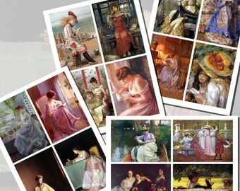 Paintings of Books and Reading Printables, POSTCARD SIZE,  (3.5 x 5 Inch  or 12.7 x 8.8 cm), 16 Total