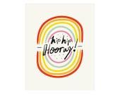 Hip Hip Hooray Art Print 8x10 or 11x14