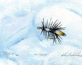 Fly Fishing Art - Original Painting - Watercolor - Classic Fishing Fly - Michigan Made - Fly Fishing - Great Lakes Artist - Black Frame
