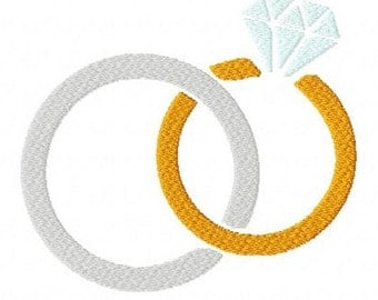 Linked rings wedding 2 inch machine embroidery design instant download