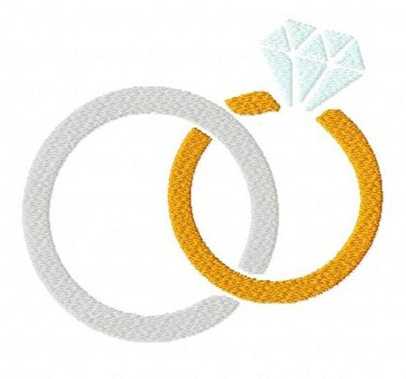Linked rings wedding 4 inch machine embroidery design instant