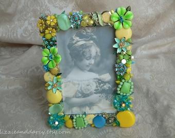 Lime Yellow Aquamarine Vintage Jewelry Rhinestone 4 x 6 Photograph Picture Photo Frame
