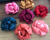 On sale 7pcs purple color Satin Diy fabric flowers for headband  shoes accessories about  7cm wide