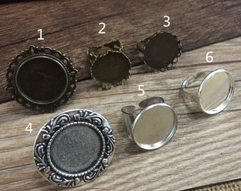 12pcs 6style  20mm Antique silver and Bronze  Round Ring Cameo Setting Fite 20MM glass cameo