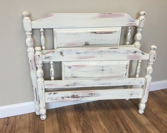 Pink Twin Bed, Girls Bedroom, Shabby Chic Bed, Painted Distressed