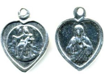 Sacred Heart of Jesus - Our Lady of Mount Carmel - Religious Medal -  Sterling Silver Scapular Medal (M-949)