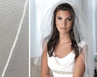 Pencil Edge Bridal Veil, 1 Layer Wedding Veil, Tulle Veil, Ivory Veil, White Veil, Ivory Veil, Veil for Bride, Veil for Wedding ~VB-422