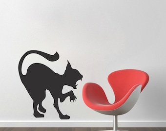 Scary Cat Decal Sticker, Halloween Cat Wall Vinyl Decal, Black Cat Wall Art, Hissing Cat Wall Decal, Halloween Angry Cat Wall Decal, h26