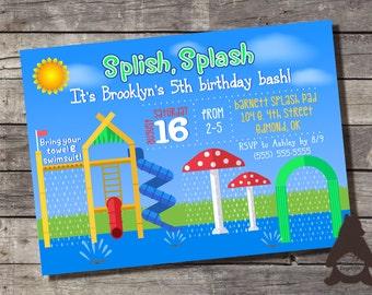 Splash Pad Invitation, Splash Park, Sprinklers, Slides, Sprayground, Aquatic Play, Printable Invitation for Kids Birthday Party
