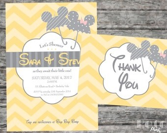 Mickey And Minnie Disney Baby Shower Invitation and Thank You Card