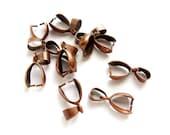 10 Antique Copper Pinch Bails - 16-AC-1