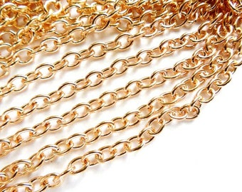 KC Gold Plated Cable Chain Unfinished 5 Feet - 22-29-1