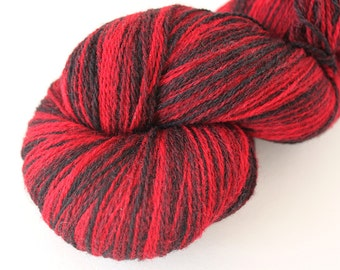 KAUNI Estonian Artistic Wool Yarn Red Black  8/2,  Art Wool  Yarn for Knitting, Crochet