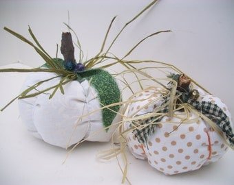 Fabric Pumpkins, Wedding Supplies, Wedding Decor, Bridal Decor, White, Place Card Holders, White, Polka Dot, Custom Wedding Orders, OoAK