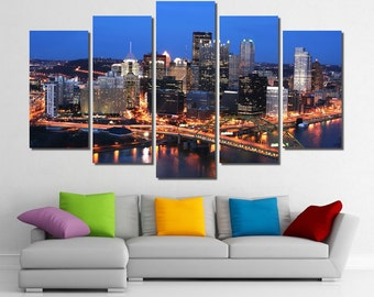 "60""x36"" Framed Huge 5 Panel Art City Bridge Skyline Pittsburgh Giclee Canvas Print - Ready to Hang"