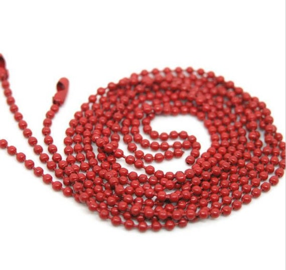 4 Pieces. Red Ball Chain Necklace. 2mm Bead Connector. 70cm. DIY Ball Necklace.