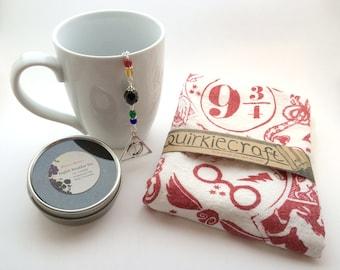 Harry Potter Heart Hand Printed Tea Towel & Deathly Hallows Tea Infuser Gift Set