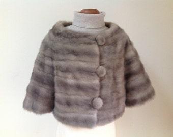 Vintage Gray Fox Fur Cape