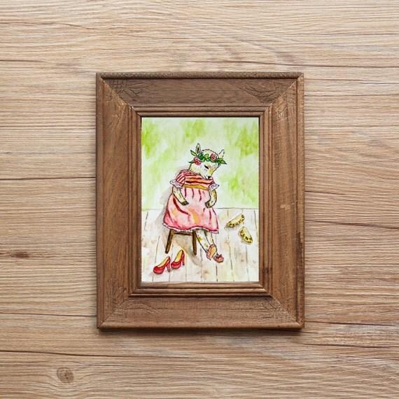 Rainbow shoes (Print), goat print, children illustration, animal print, nursery decor, reproduction, goat illustration,goat decor