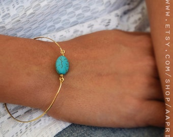 Turquoise bangle, turquoise bracelet, 14k gold filled bangle, thin gold bracelet, everyday jewelry, boho jewelry, layering bracelet